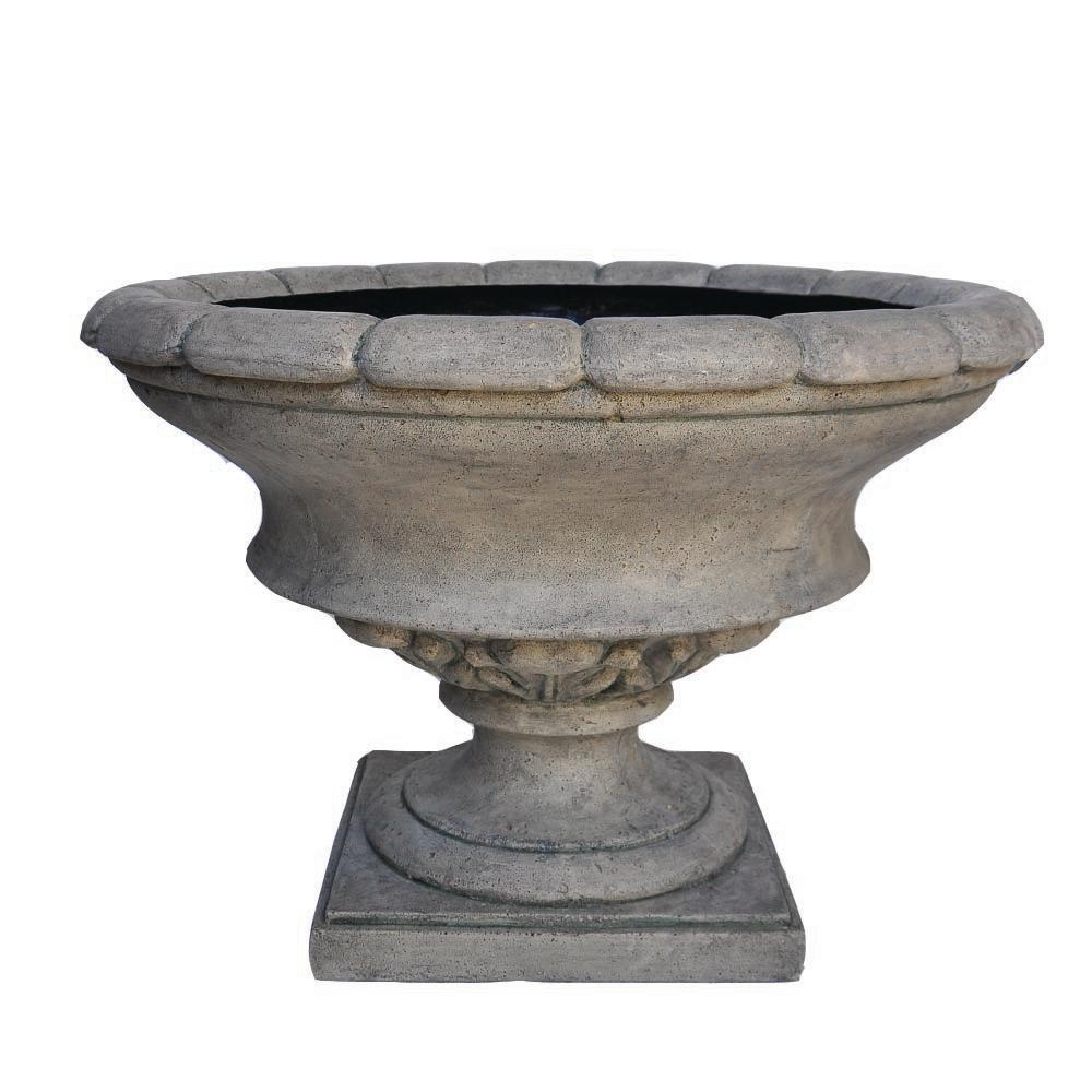 MPG 17 in. H Granite Cast Stone Low Urn