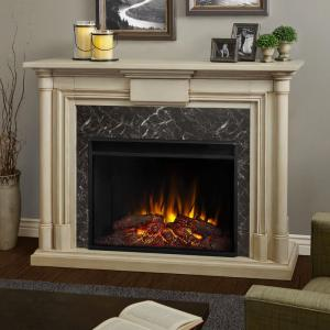 Real Flame Maxwell Grand 58 inch Ventless Electric Fireplace in Whitewash by Real Flame
