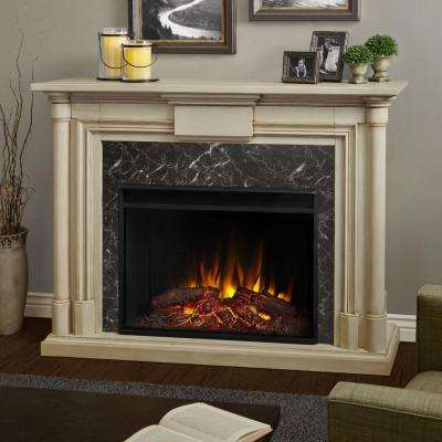 Maxwell Grand 58 in. Ventless Electric Fireplace in Whitewash