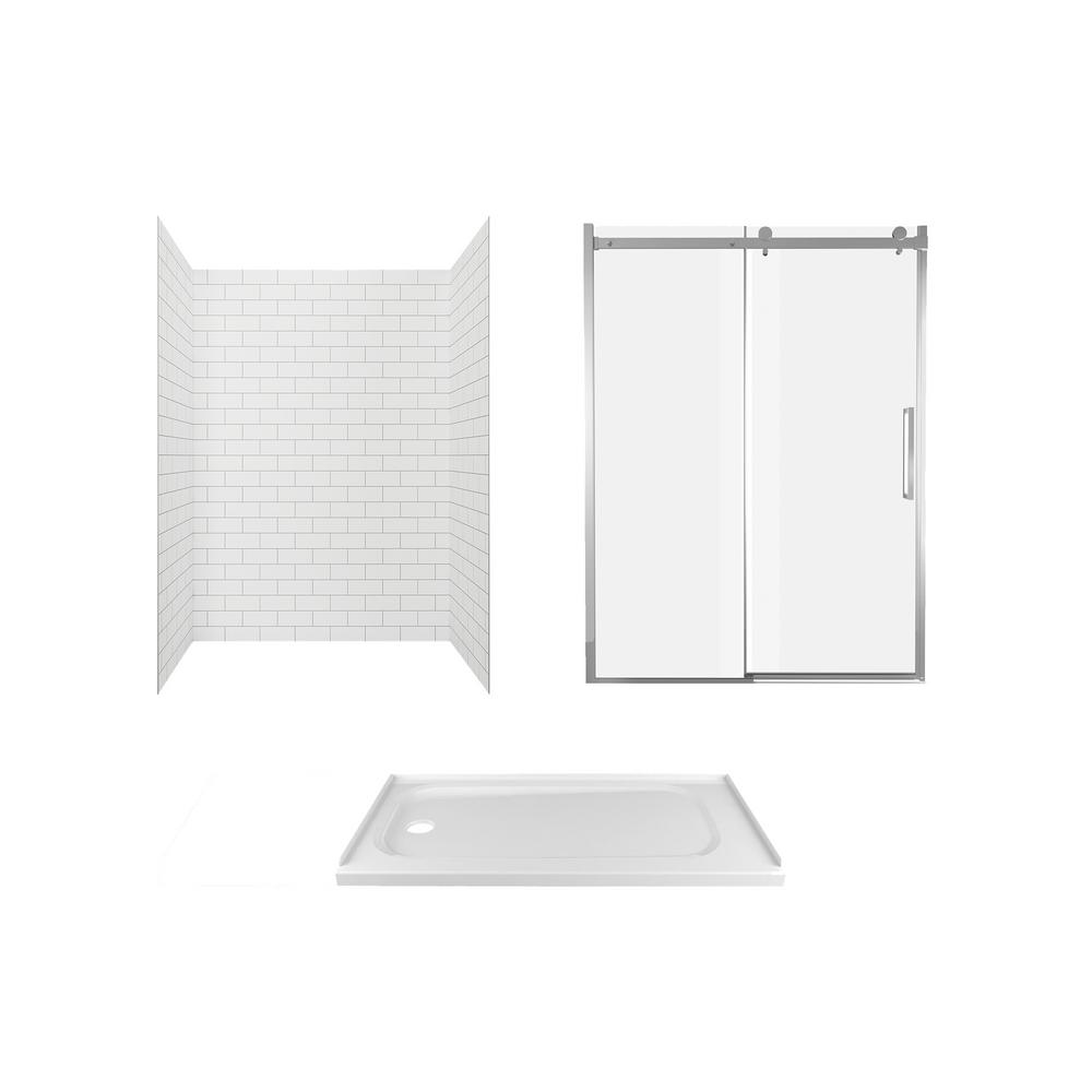 American Standard Passage 60 in. x 72 in. 3-Piece Glue-Up Alcove Shower Wall, Door and Base Kit with Left Hand Drain in White Subway Tile