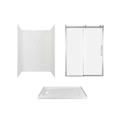 Passage 60 in. x 72 in. 3-Piece Glue-Up Alcove Shower Wall, Door and Base Kit with Left Hand Drain in White Subway Tile