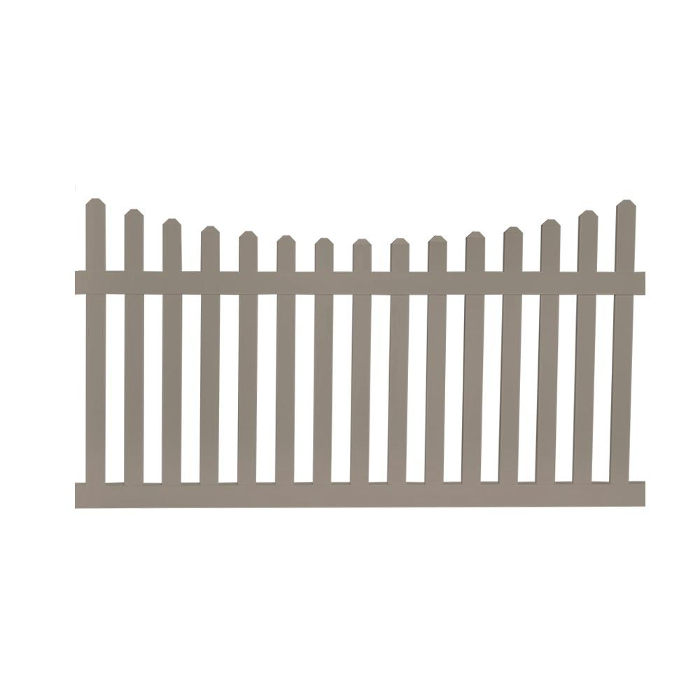 Ellington 4 ft. H x 6 ft. W Khaki Vinyl Picket