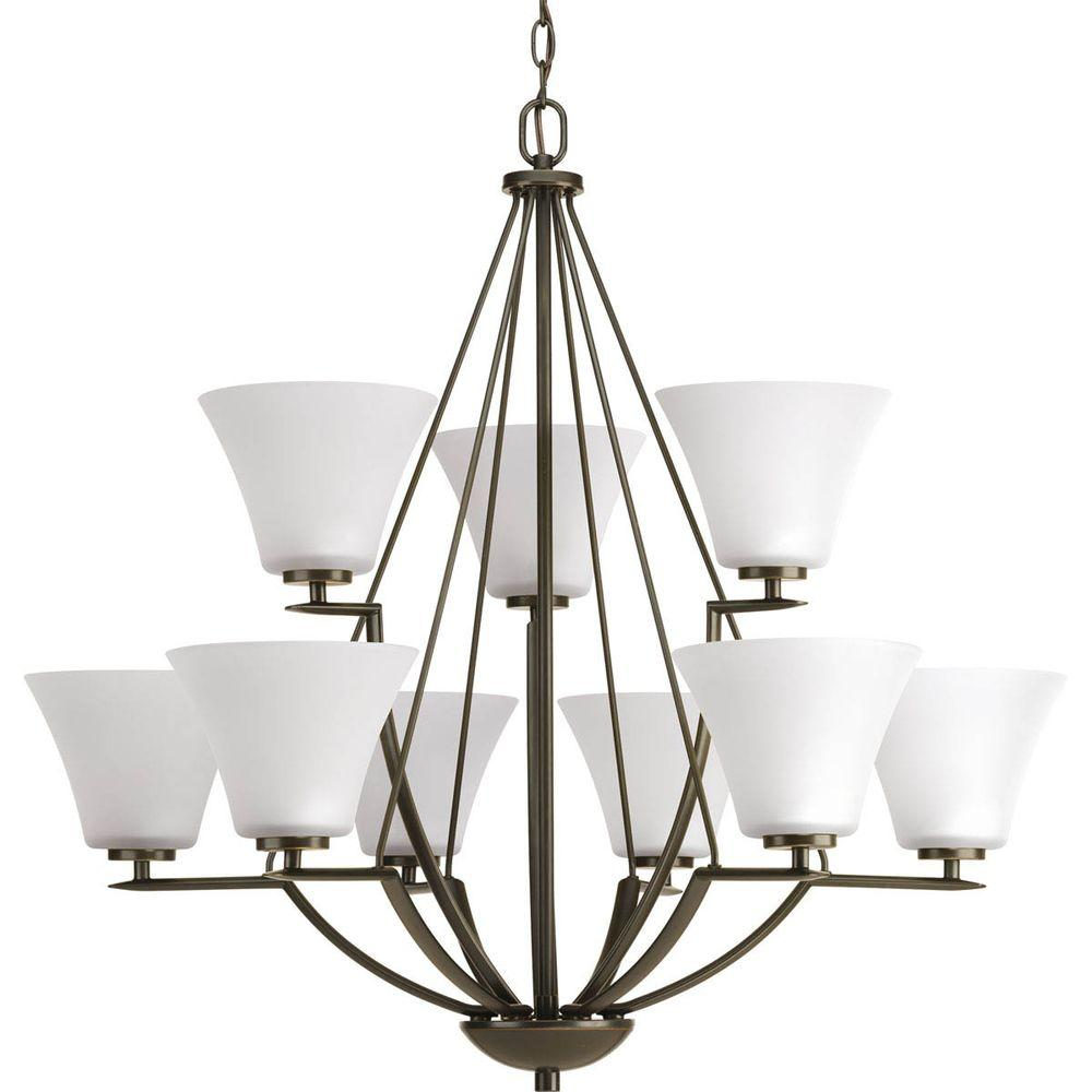 Bravo Collection 9 Light Antique Bronze Chandelier With White Etched Gl Shade