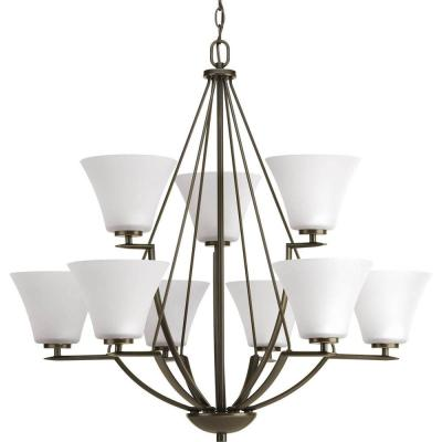 Bravo Collection 9-Light Antique Bronze Chandelier with White Etched Glass Shade