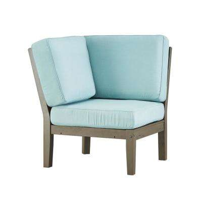 Verdon Gorge Gray Oiled Wood Outdoor Corner Lounge Chair with Blue Cushion