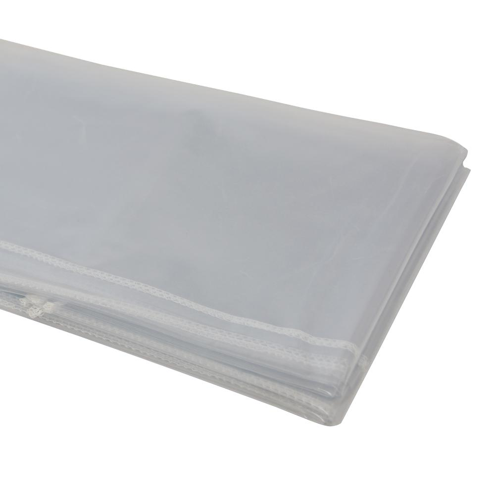 Heavy Duty Clear Plastic Tablecloth With White Sewn Edges