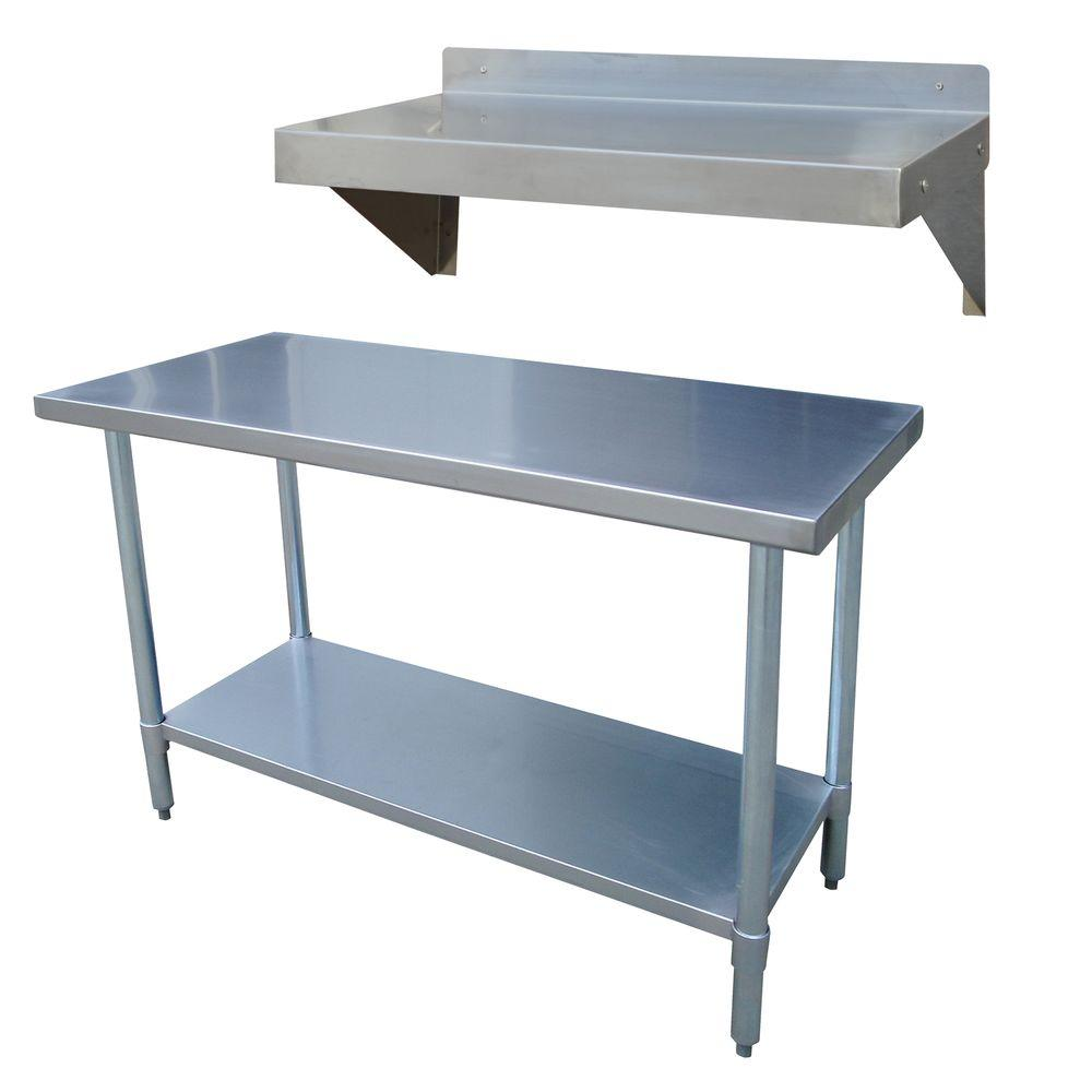 sportsman stainless steel kitchen utility table with work shelf rh homedepot com stainless steel work table with drawers stainless steel work tables islands
