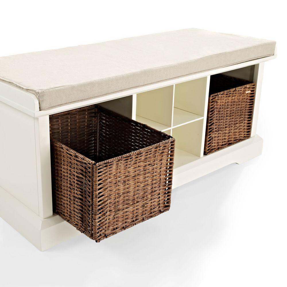 Marvelous Crosley Brennan Entryway Storage Bench In White Cf6003 Wh Forskolin Free Trial Chair Design Images Forskolin Free Trialorg