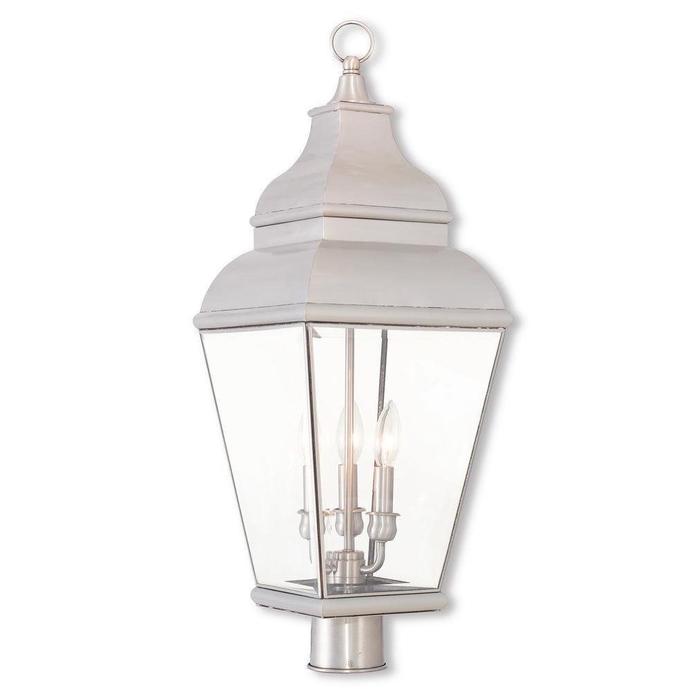 Exeter 3-Light Outdoor Brushed Nickel Post Light