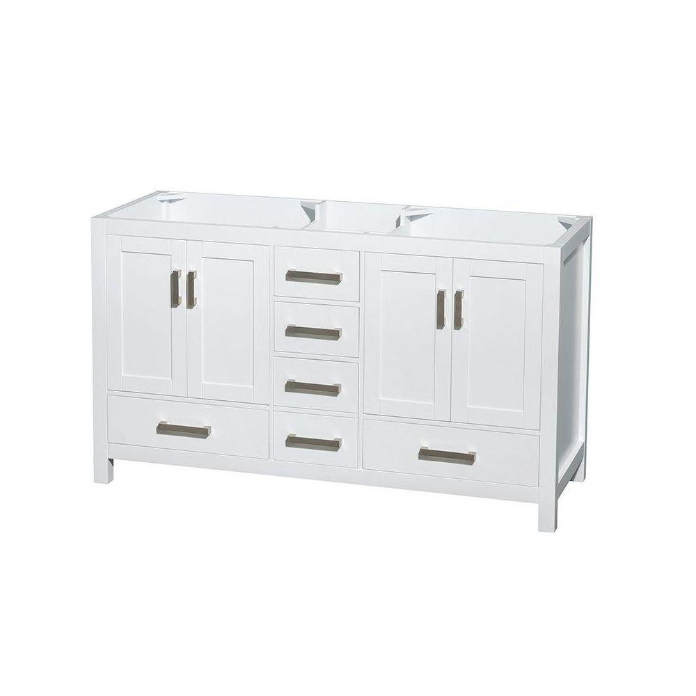 Wyndham Collection Sheffield 59 in. Double Vanity Cabinet Only in White  sc 1 st  The Home Depot & Wyndham Collection Sheffield 59 in. Double Vanity Cabinet Only in ...