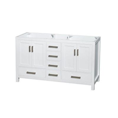 Sheffield 59 in. Double Vanity Cabinet Only in White