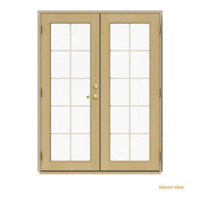 60 in. x 80 in. W-2500 Desert Sand Clad Wood Right-Hand 10 Lite French Patio Door w/Unfinished Interior