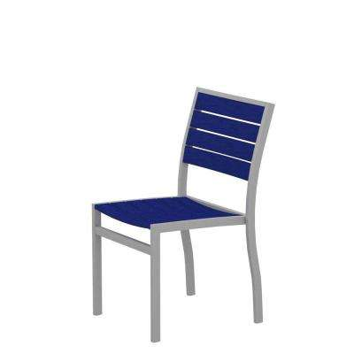 Euro Textured Silver Patio Dining Side Chair with Pacific Blue Slats