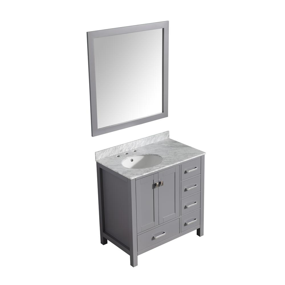 ANZZI Chateau 36 in. W x 22 in. D Vanity in Gray with Marble Vanity Top in Carrara White with White Basin and Mirror