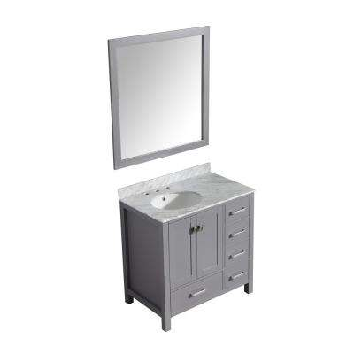 Chateau 36 in. W x 22 in. D Vanity in Gray with Marble Vanity Top in Carrara White with White Basin and Mirror