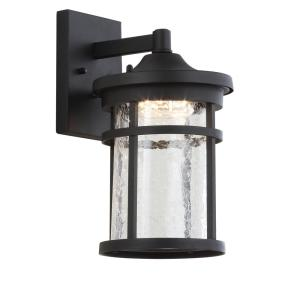 Campo Medium 11.5 in. Black Integrated LED Outdoor Wall Lantern Crackled Glass/Metal Sconce