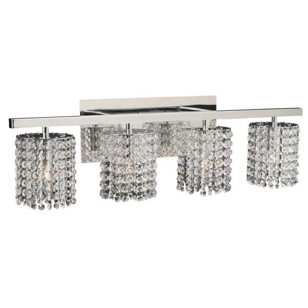 4-Light Polished Chrome Bath Vanity Light with Clear Glass