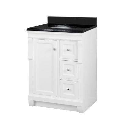 Naples 25 in. W x 22 in. D Bath Vanity in White with Granite Vanity Top in Midnight Black with Oval White Basin