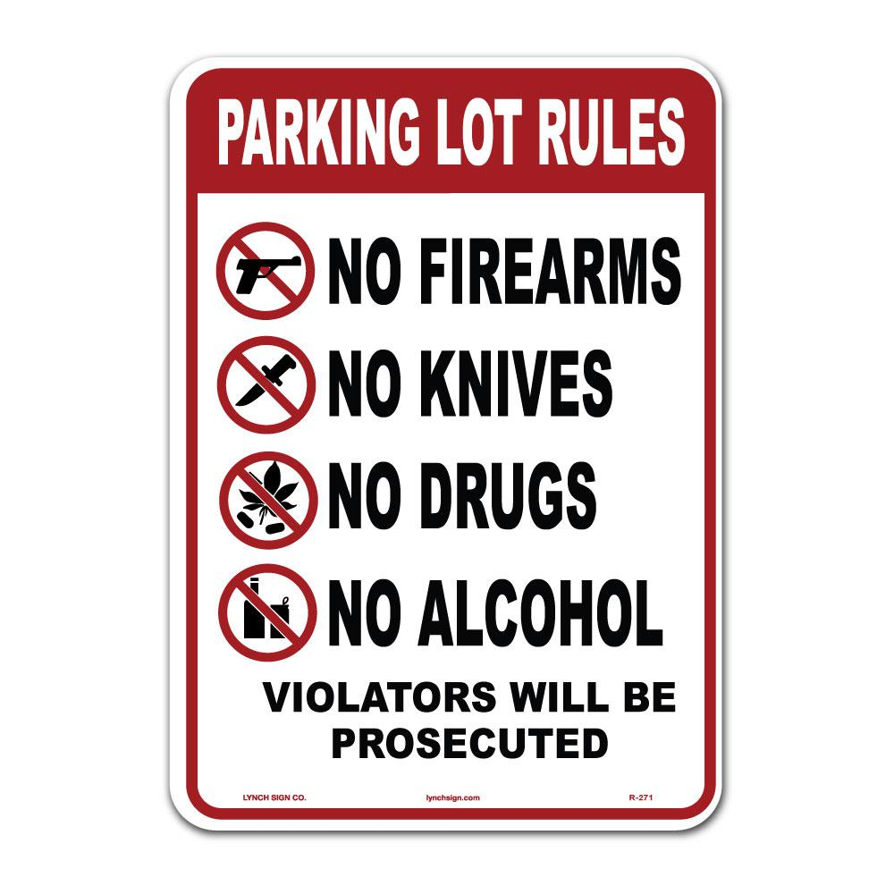 10 in. x 14 in. Parking Lot Rules Sign Printed on