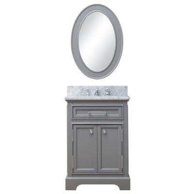 24 in. W x 21.5 in. D Vanity in Cashmere Grey with Marble Vanity Top in Carrara White and Mirror