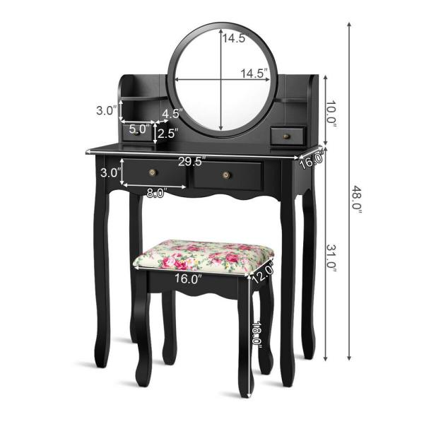 Makeup Vanity Table Set W/ Oval Mirror