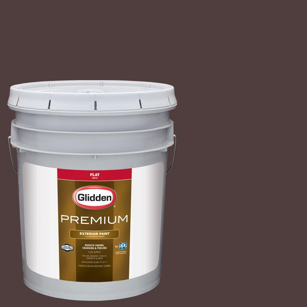 Exterior Paint Colors Home Depot: Glidden Premium 5-gal. #HDGR39D Ranch House Brown Flat