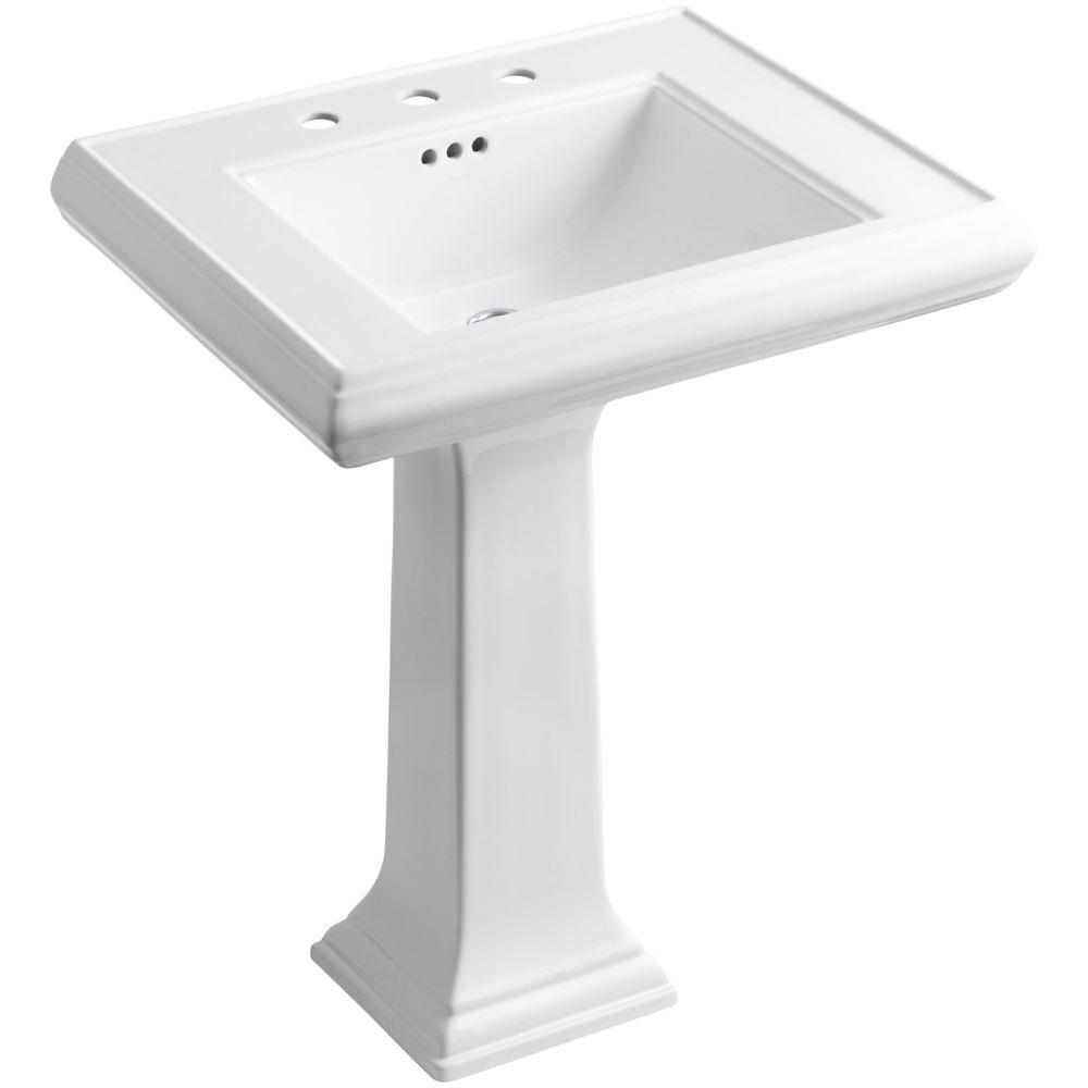 Memoirs Classic Ceramic Pedestal Bathroom Sink in White with Overflow Drain