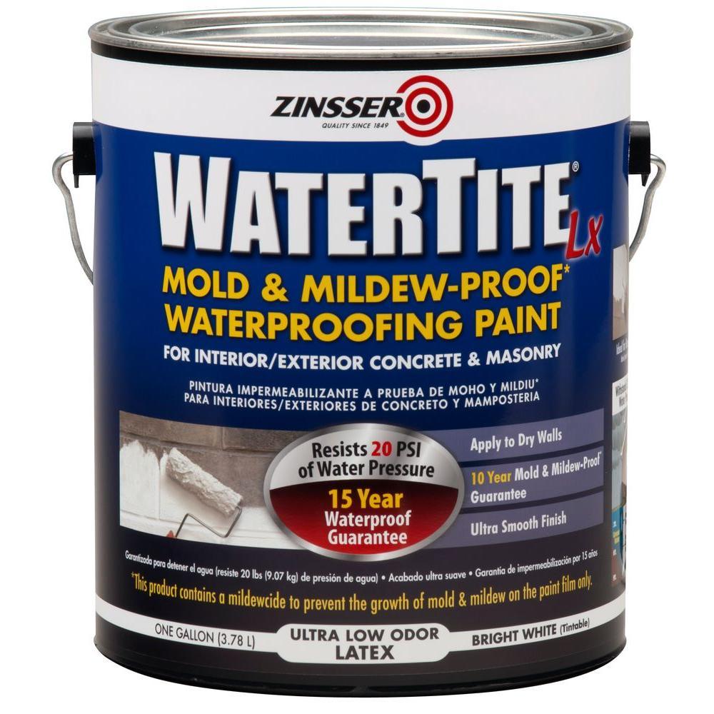 Zinsser 1 Gal. WaterTite LX Low VOC Mold and Mildew-Proof White Water Based Waterproofing Paint (2-Pack)