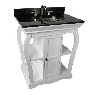 Vineta 31 in. W x 21.65 in. D Bath Vanity in White with Granite Vanity Top in Black with Black Nickel Basin
