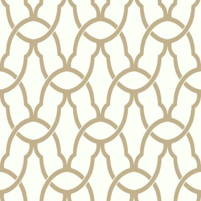 28.18 sq. ft. Gold Trellis Peel & Stick Wallpaper