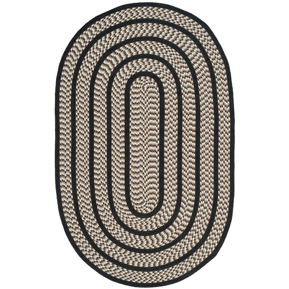 Safavieh Braided Ivory/Black 2 ft. 3 in. x 8 ft. Oval Area Rug