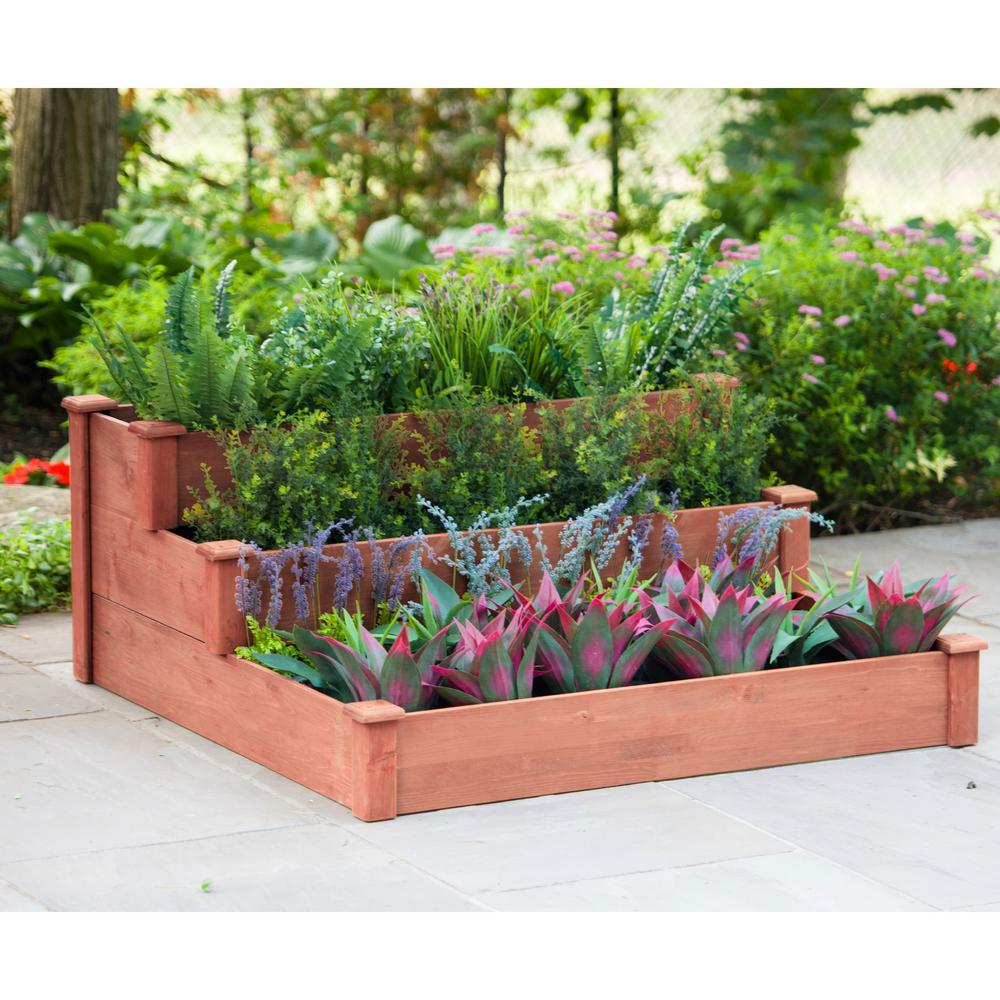 48 in. x 21 in. Medium Brown Solid Wood 3-Tier Raised Garden Bed