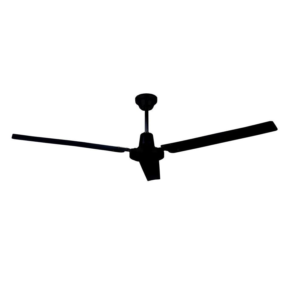 Black Industrial Ceiling Fan With 3 Blades