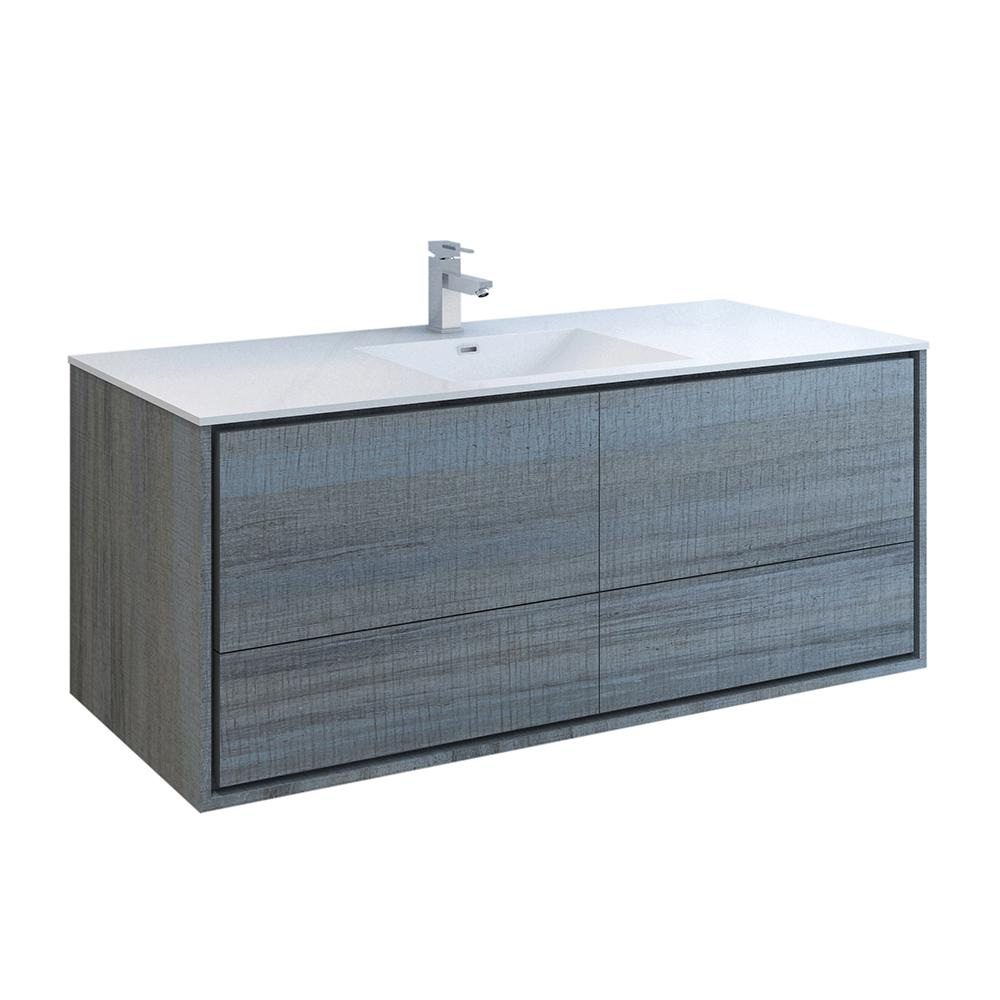 Fresca Catania 60 in. Modern Wall Hung Bath Vanity in Ocean Gray with Vanity Top in White with White Basin
