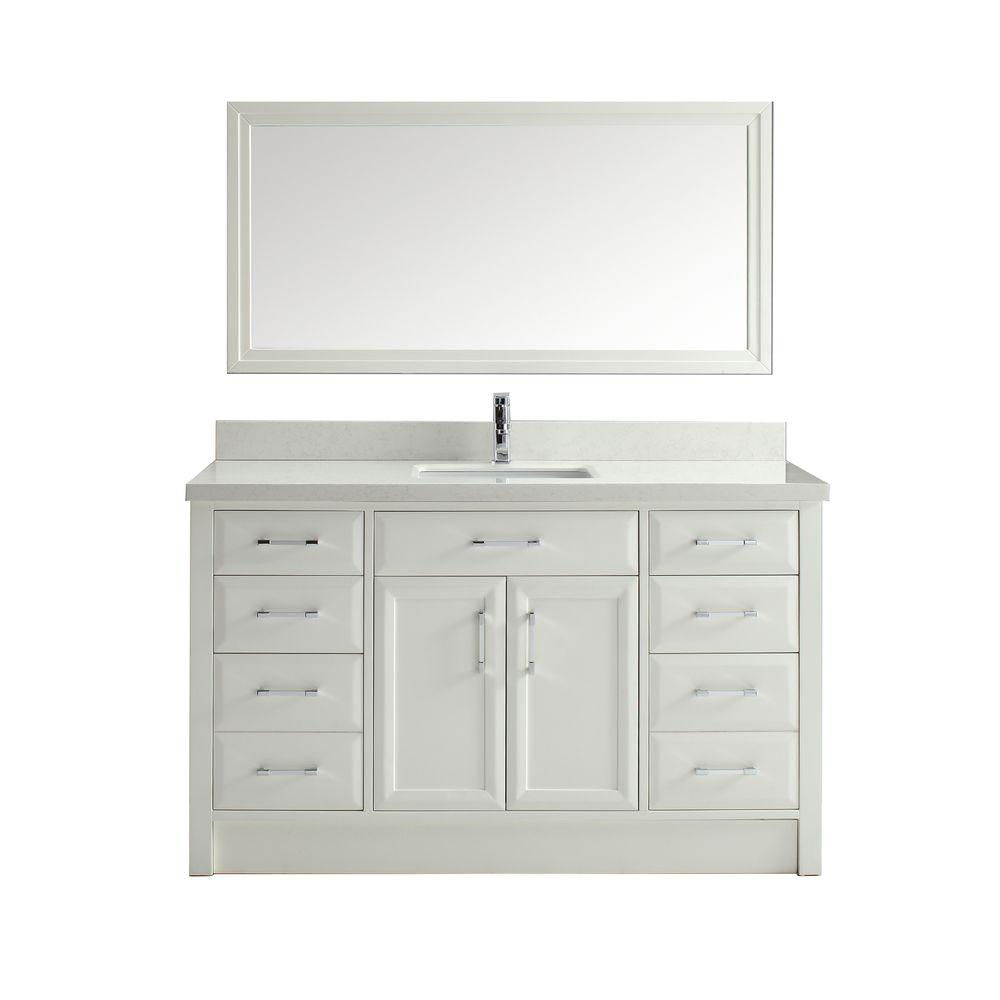 Studio Bathe Calais 60 in. Vanity in White with Solid Surface Marble ...