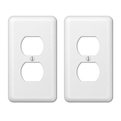 Declan 1 Gang Duplex Steel Wall Plate - White (2-Pack)