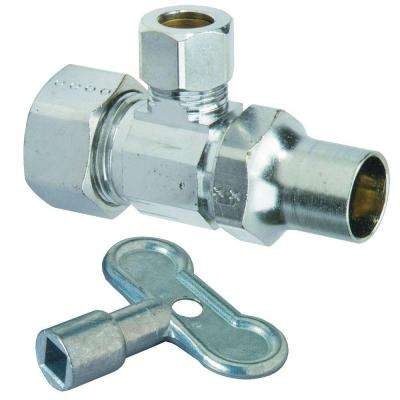 1/2 in. Nom Compression Inlet x 3/8 in. O.D. Compression Outlet Brass Multi-Turn Angle Valve with Loose Key (5-Pack)