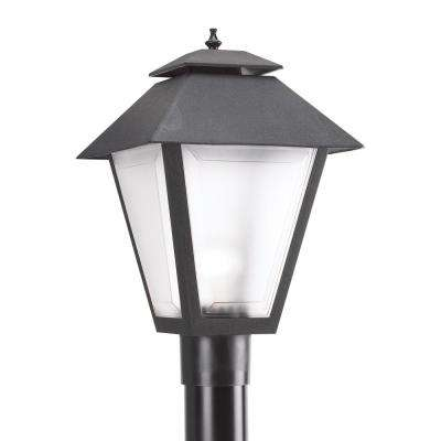 Polycarbonate Outdoor Collection 10.5 in. W.   1-Light Outdoor Black Post Light with LED Bulb