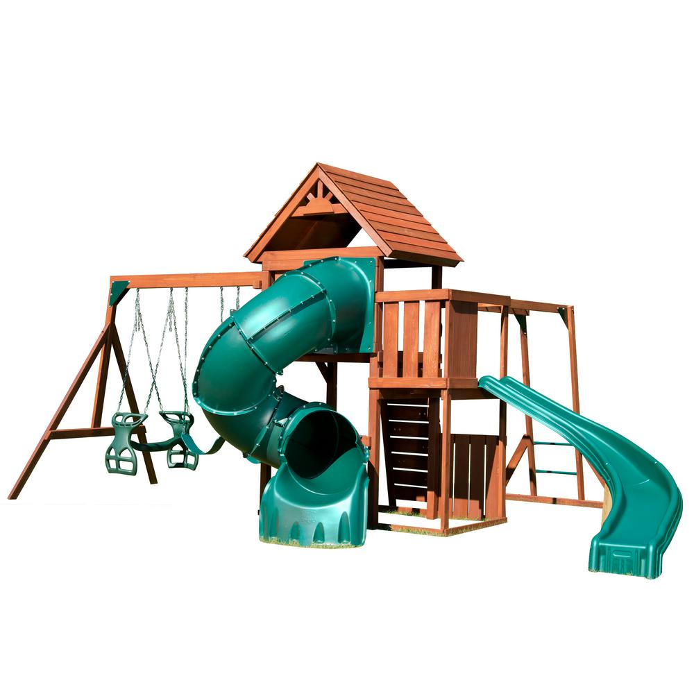 Swing-N-Slide Playsets Grandview Twist Deluxe Wood Complete Swing Set with Chalkboard