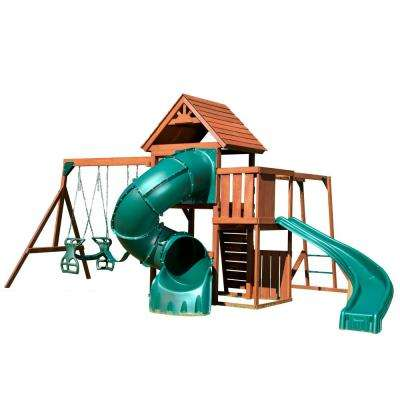 Grandview Twist Deluxe Wood Complete Swing Set with Chalkboard