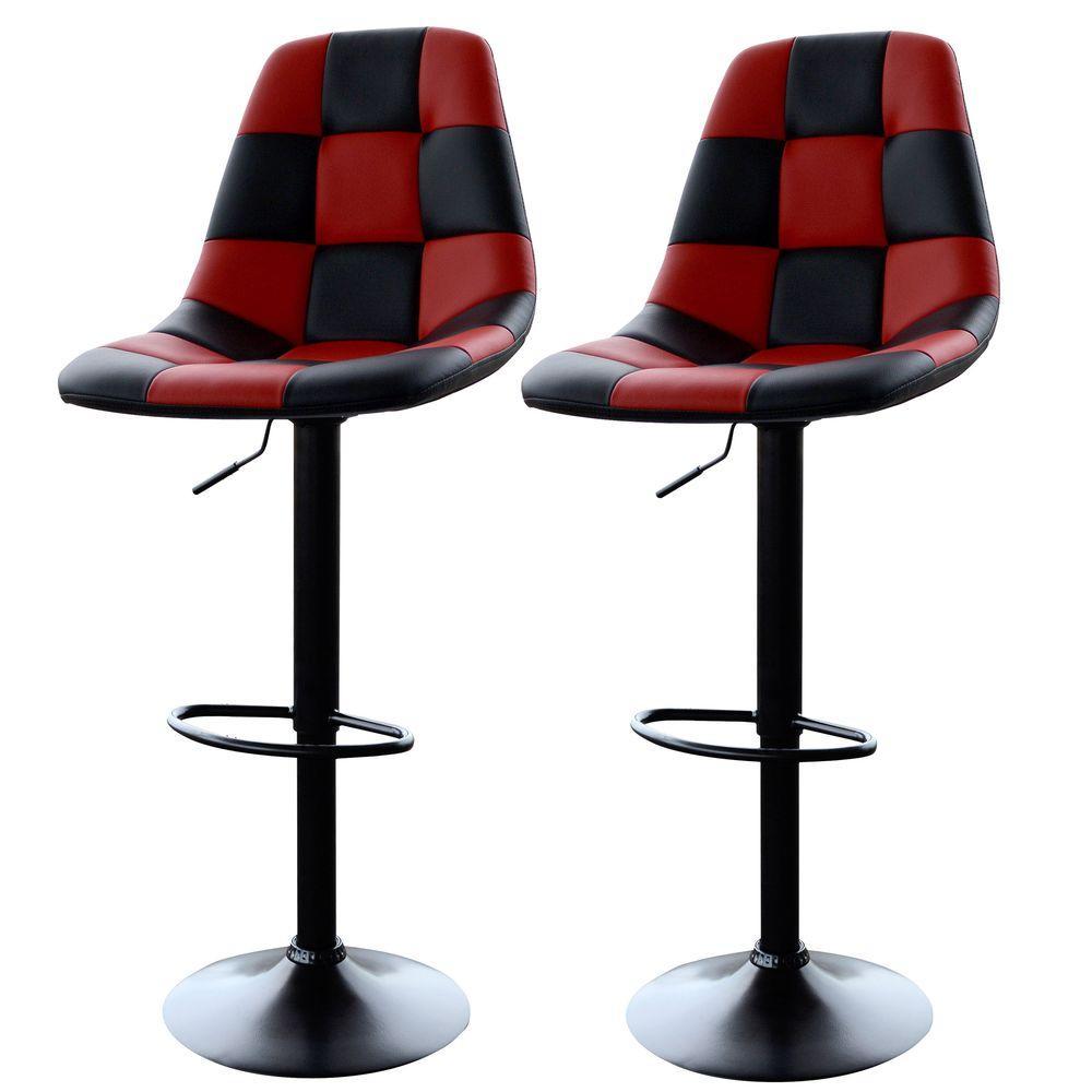 Amerihome Adjustable Height Red Black Swivel Cushioned Bar Stool Set Of 2