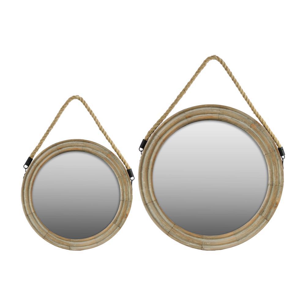 Round Brown Natural Mirror