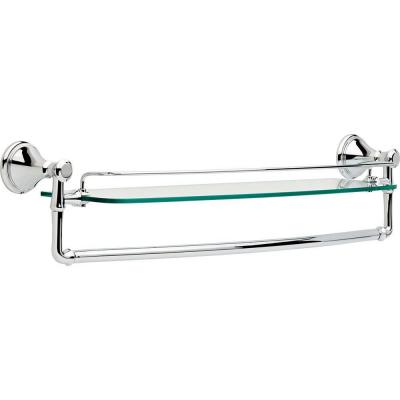 Cassidy 24 in. Glass Bathroom Shelf with Towel Bar in Chrome