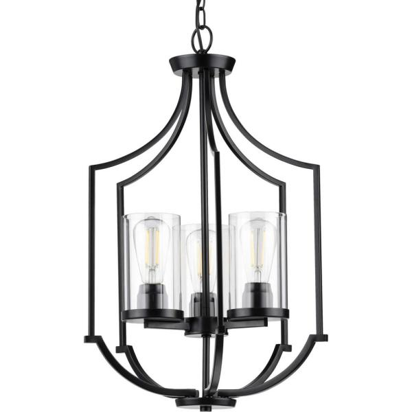 Lassiter 3-Light Matte Black Foyer Pendant