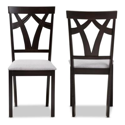 Sylvia Grey and Dark Brown Fabric Dining Chair (Set of 2)