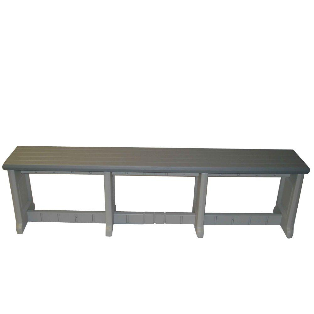Leisure Accents 74 in. Gray Resin Patio Bench
