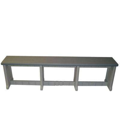 74 in. Gray Resin Patio Bench
