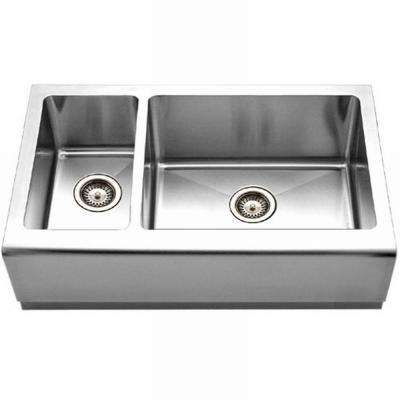 Epicure Series Farmhouse Apron Front Stainless Steel 33 in. Double Bowl Kitchen Sink