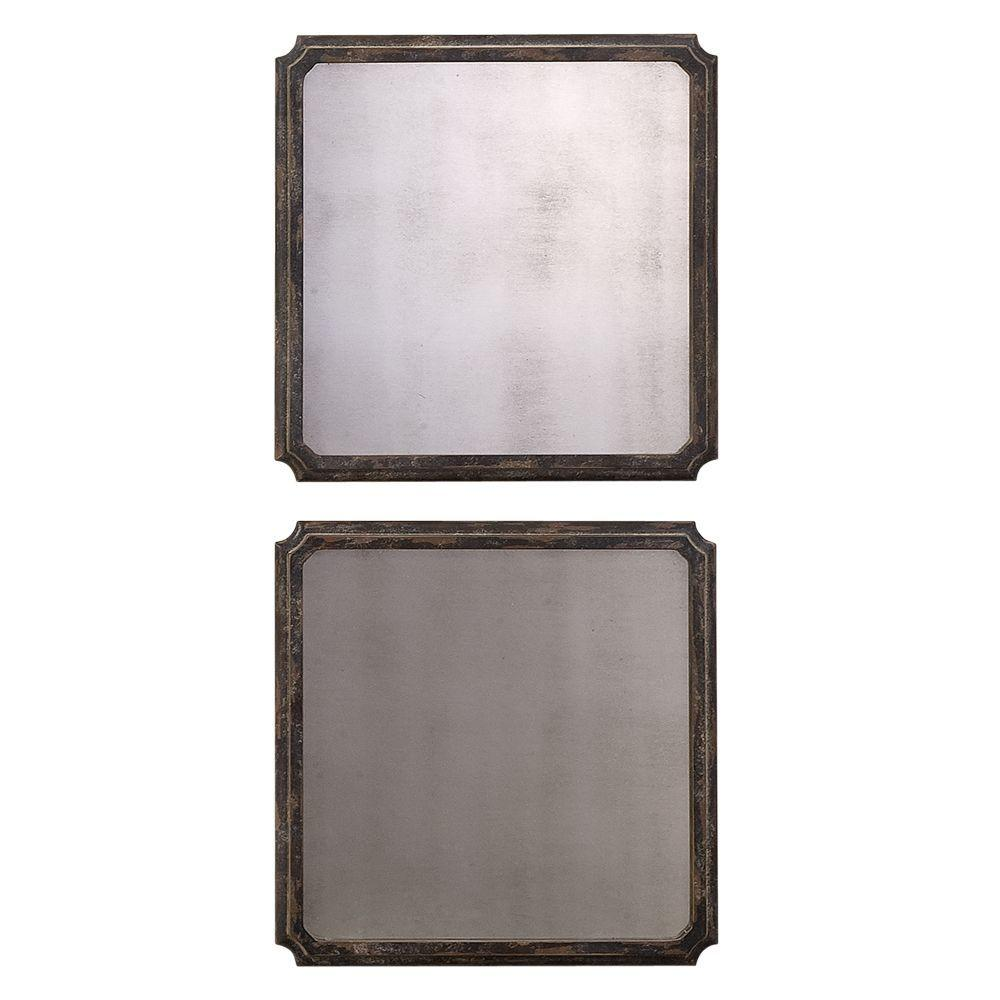 Global Direct 16 in. x 16 in. Black Squares Framed Mirror Set of 2-DISCONTINUED