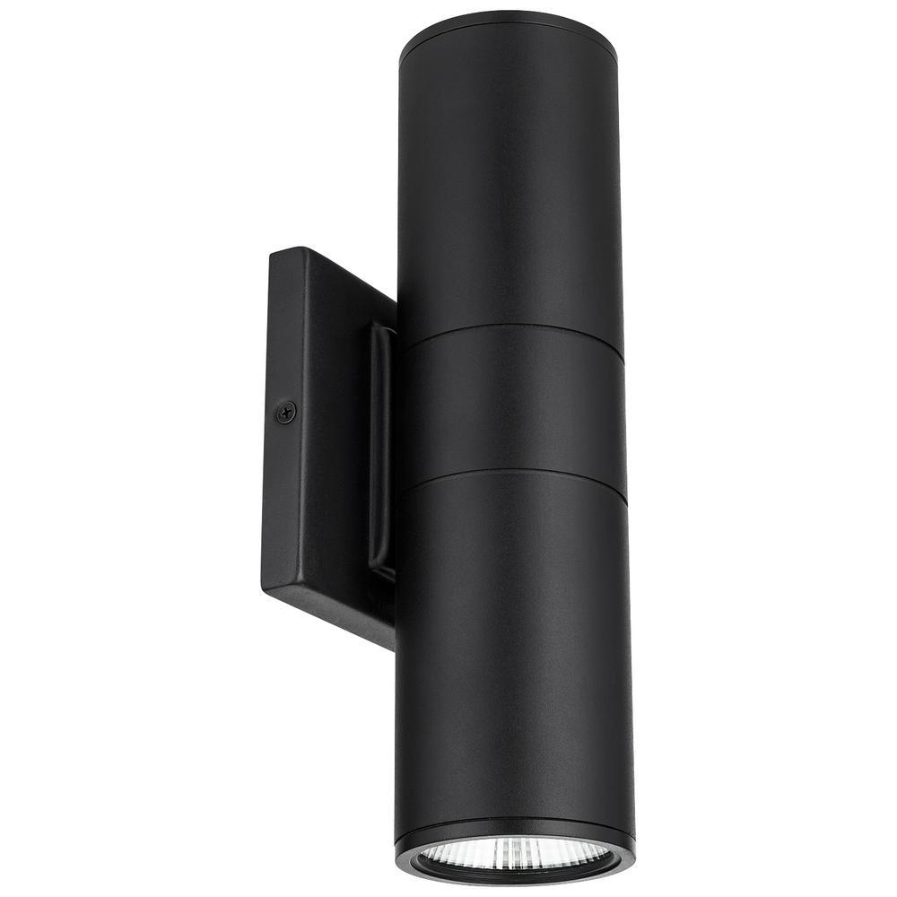 Black Aluminum LED Outdoor Wall Cylinder Light ETL Listed ENERGY STAR Certified Light Fixture Daylight (5000K)